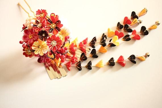Kanzashi Tsumami Kanzashi, Style traditionnel, rouge, noir, japonais cheveux de kimono, Kanzashi japonais, broche, broche florale, épingle à cheveux, rouge
