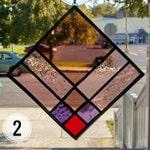 PURPLE QUILT Sun Catcher, Stained Glass Suncatcher Purple Glass, 9-Patch Quilt Square, , Window Glass Art, Window Panel Window Hanging
