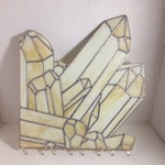 RESERVED for SAM Citrine Crystal Cluster Window Corner, Stained Glass Window Hanging, Crystal Window Panel