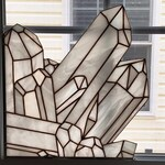 RESERVED for SAM Quartz Crystal Cluster Window Corner, Stained Glass Window Hanging, Crystal Window Panel