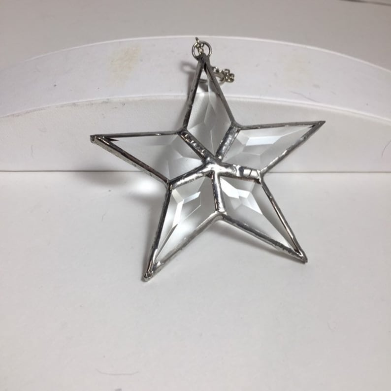 Beveled Star Suncatcher Leaded Crystal Star Window Hanging image 0
