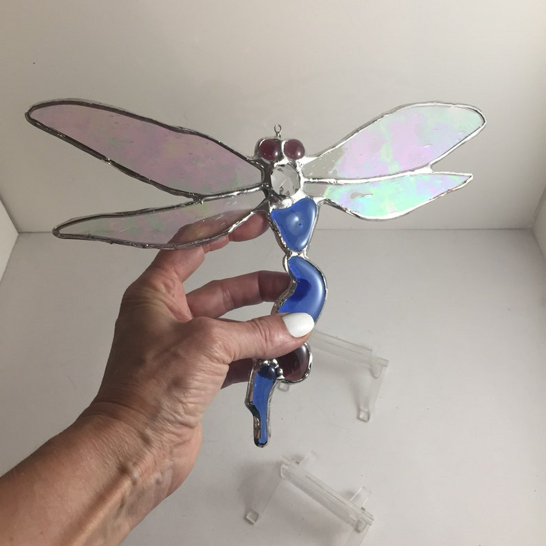Dragonfly suncatcher stained glass art image 0