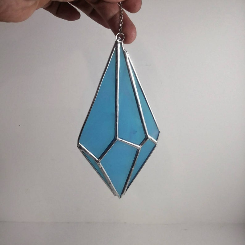 Blue Crystal Point Suncatcher Stained glass Crystal image 0