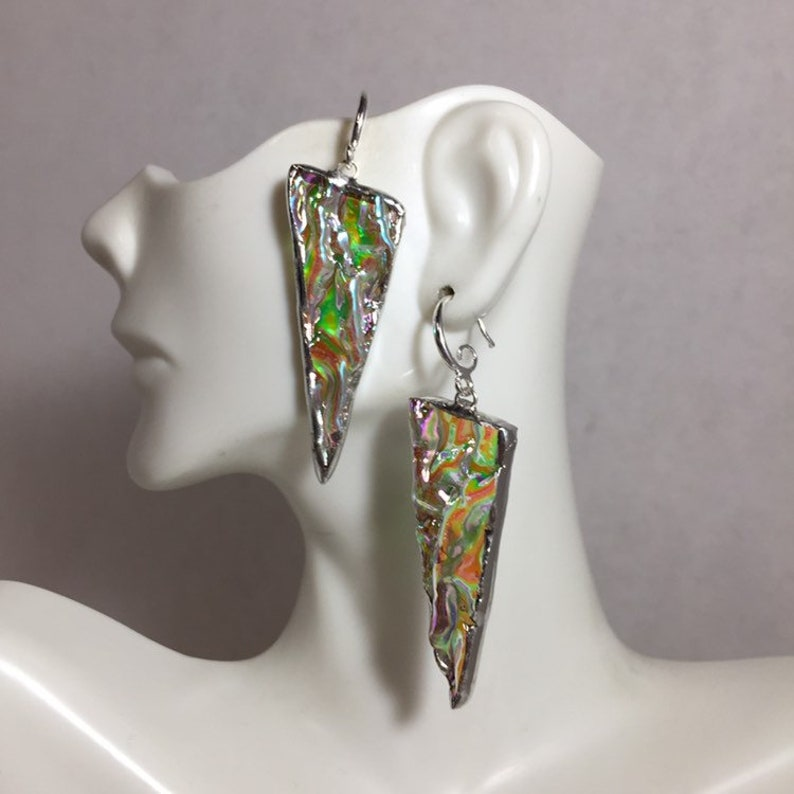 Triangle earrings Clear dichroic glass earrings stained image 0