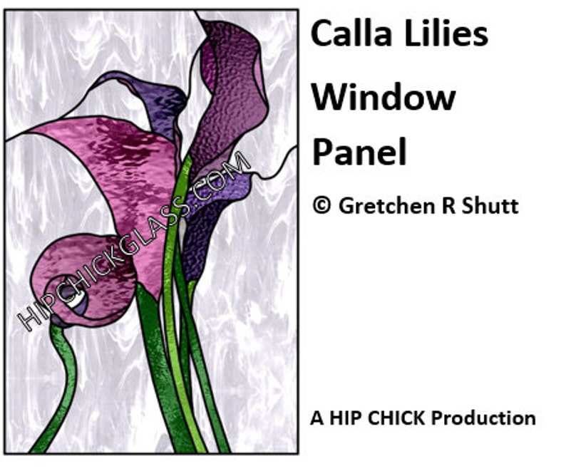 Calla Lilies Window Panel Stained Glass Pattern PDF Instant image 0