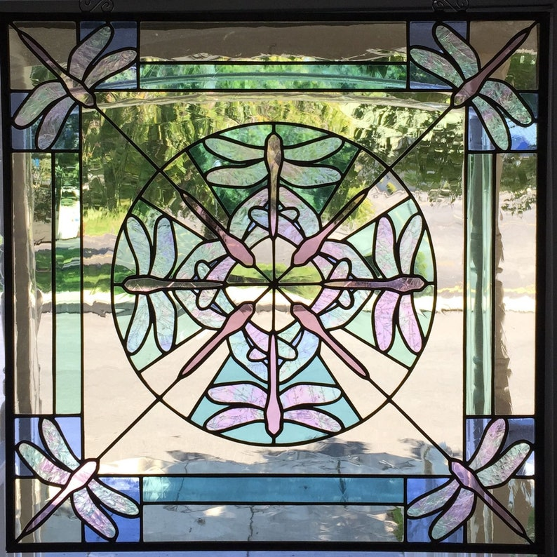 Dragonfly Kaleidoscope Stained Glass Window Panel image 0