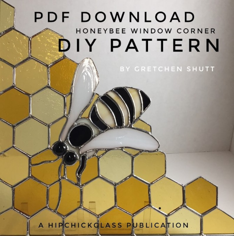 PDF Instant Download Stained Glass Patterns Honeybee Window image 0