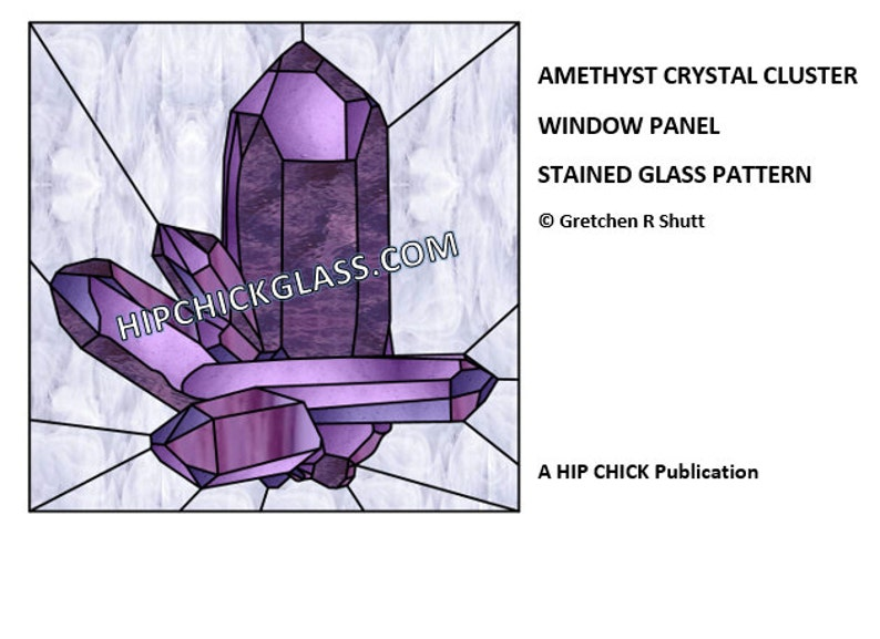 Amethyst Quartz Crystal Panel Stained Glass Patterns PDF image 0