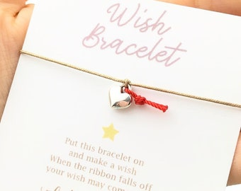 Wish Bracelet - Silver Heart Bracelet - Wish Jewelry - Bracelets for Women - Best Friend Gift - Wish Ribbon Bracelet