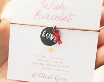 Love Coin Wish Bracelet, Bracelets for Women, Wish Jewelry, Best Friend Gift, Wish Ribbon Bracelet, Friendship Bracelet