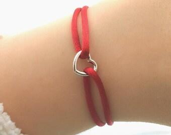 Heart Bracelet - Bridesmaid Gift, Bracelets for Women, Love Bracelet, Silk Bracelet, Red Bracelet