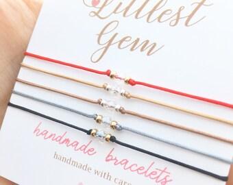 Tiny Crystal Red String Bracelet, Red Bracelet, Bracelets for Women, best friend birthday gift, Gift for Her, Faux Diamond Bracelet