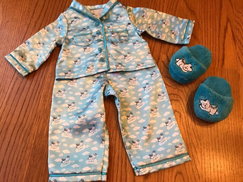 American Girl Molly/'s Floral Pajamas PJs Slippers Set Retired Outfit ONLY NEW