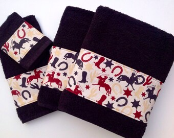 Western theme on plush black towels.  Perfect for that ranch bathroom or a gift for a friend.  These are my higher end towels.