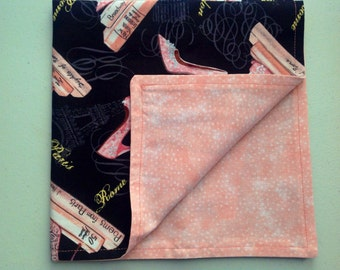 Pretty in high heels, these would be perfect for girls night.  Pink and black set the colors Set of 4 napkins