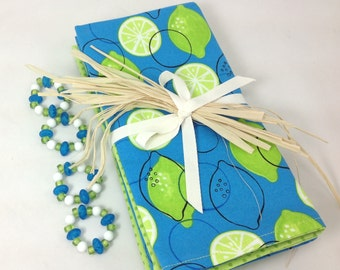 Limes with blue  design 4  double-sided cloth napkins with FREE Napkin Rings Limes design on front, complimentary print on back. Set of 4