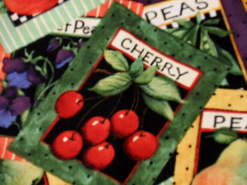 Set of 4 red cherries print on back Garden theme 4 double-sided cloth napkins with FREE Napkin Rings bright garden design on front