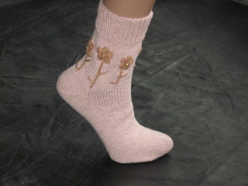 Hypoallergenic Organic socks Handmade socks Linen clothing Antibacterial Women/'s linen socks Hand knit pink romantic socks Vegan