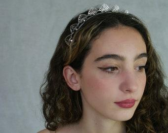 Silver or Gold Art Deco Headpiece.  Bridal Headpiece. Modern Crown. Wedding Hair Accessory. Silver or Gold Tiara. Modern Wedding Crown