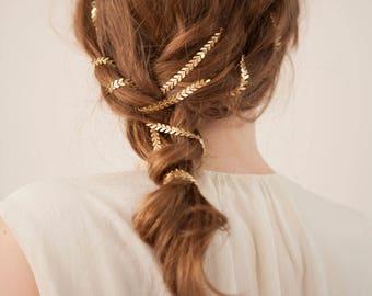 Boho Bridal headpiece  - Gold or Silver Wedding Hair Accessory - Bridal Hair Chain - Modern Wedding dress -Bridesmaids Hair Accessories