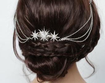Star Bridal Headpiece - Wedding Hair Drape - Celestial Hair Accessory with swags  - Silver Hair Chain-  Modern Bridal Headpiece with stars
