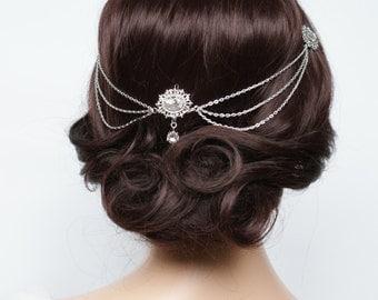 Art Deco Wedding Headpiece in silver - Draped Crystal Head chain - 1930s Wedding Dress - Vintage Wedding Headpiece