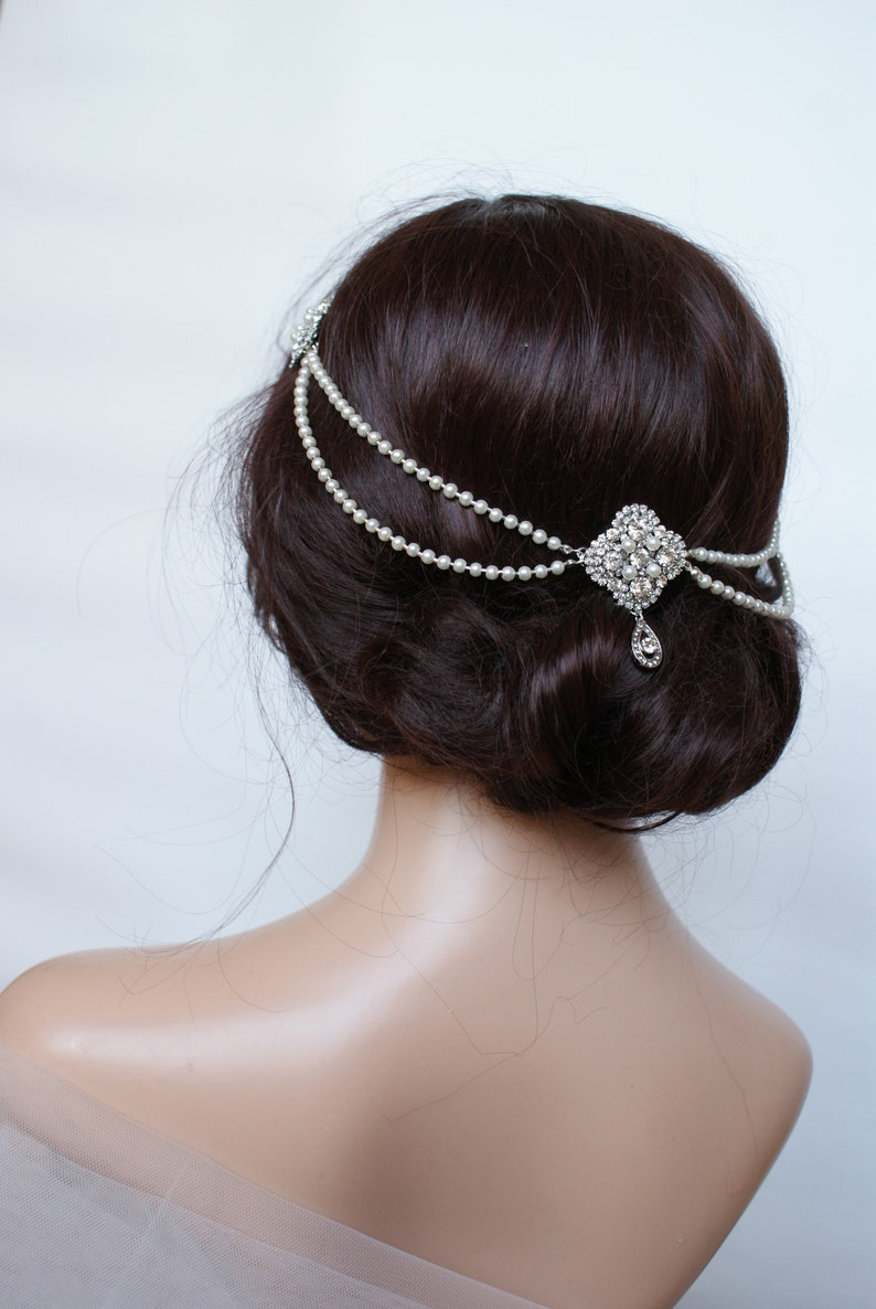 1930s Wedding Headpiece with pearls  Vintage Wedding image 0