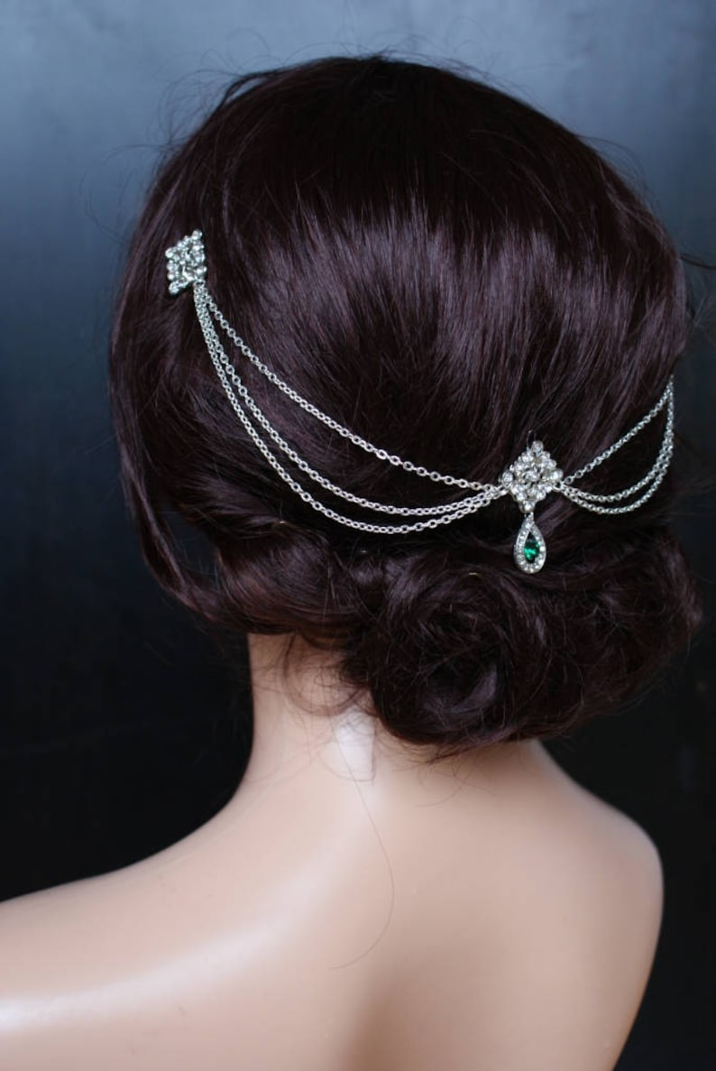 1920s Wedding dress Vintage Bridal Headpiece with Emerald crystal Bridal headpiece with Emerald Hair Chain style Bridal Hair Accessory