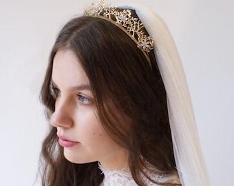 Gold Crown - Gold Wedding Tiara - Bridal Hair Accessory -  Bridal Hair Accessory -Modern Bridal Crown Headpiece- Woodland Crown