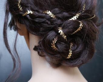 Bridal headpiece in Gold - Wedding Hair Accessory for back of head - Gold Hair chain - 1930s Wedding Dress - Bohemian Bridal Hair Accessory