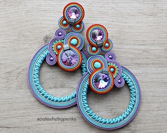Long soutache earrings with beautiful swarovski crystals.