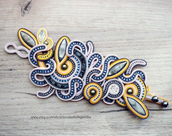Unique handmade soutache bracelet.