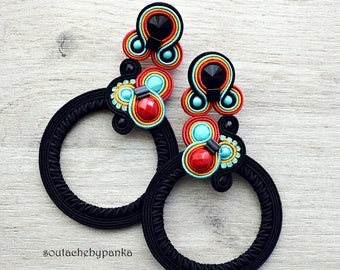 Long soutache earrings with czech beads.