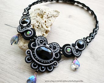 Elegant soutache necklace with czech and swarovski crystals
