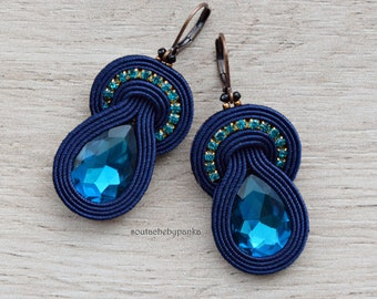 Dangle soutache earrings with czech crystals