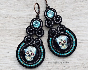 Long soutache earrings with swarovski crystals. Dangle earrings with skull.