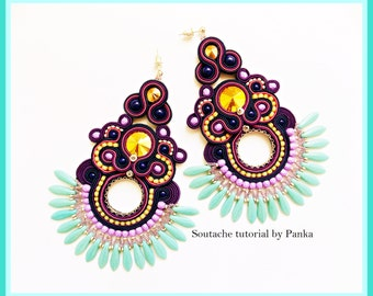 Sale - 50 % ! TUTORIAL ONLY! Hand Embroidered Soutache Tutorial, step by step pdf pattern in English