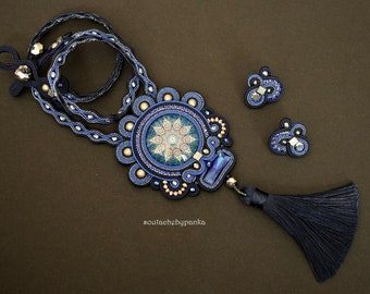 Blue soutache necklace with tassel and stud mini earrings.