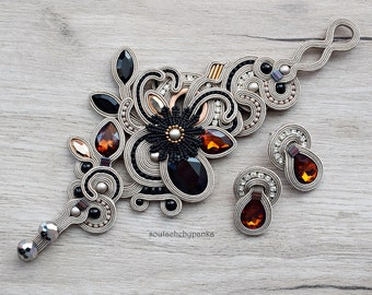 Light cream soutache set. Fashion soutache jewelry.