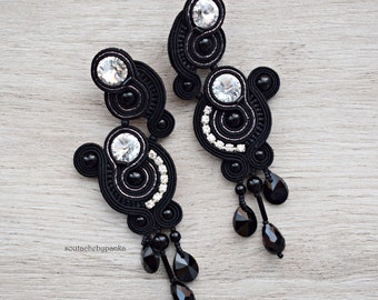 Black soutache earrings with beautiful swarovski crystals.