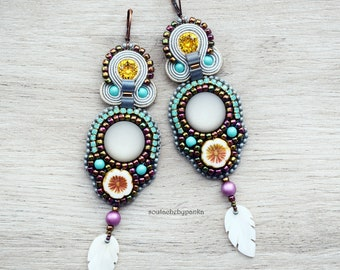 Bead Embroidered Earrings, bohemian dangle earrings.