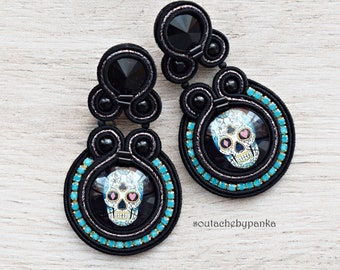 Long soutache earrings with swarovski crystals. Stud earrings with skull.