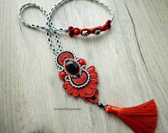 Red tassel soutache necklace