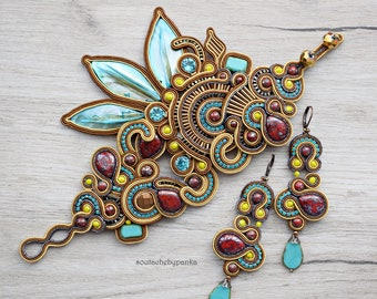 Bohemian soutache set. Fashion soutache jewelry.