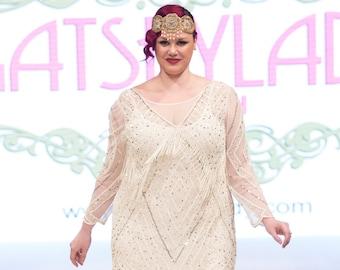 US22 UK26 AUS26 EU54 Betty Plus size Ivory Gold Fringe Dress with Sleeves 20s Flapper Great Gatsby Charleston Wedding Bridal Shower Art Deco