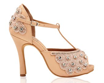 7922905801c0 Nude Donna Flapper Wedding Shoes Hand Embellished Shoes Sandals Pumps T  Strap Mary Jane inspired 20s Charleston Art Deco Hand Made