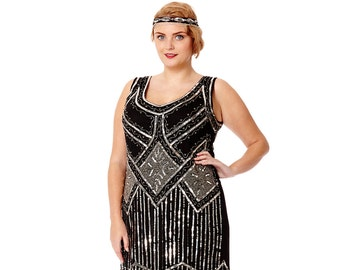 Plus Size Isobel Black Vintage 20s inspired Flapper Great Gatsby Downton Abbey Speakeasy Charleston Sequin Bridesmaid Wedding Guest Dress