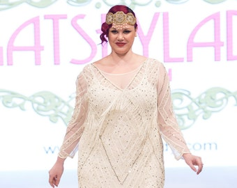 US20 UK24 AUS24 EU52 Betty Plus size Ivory Gold Fringe Dress with Sleeves 20s Flapper Great Gatsby Charleston Wedding Bridal Shower Art Deco