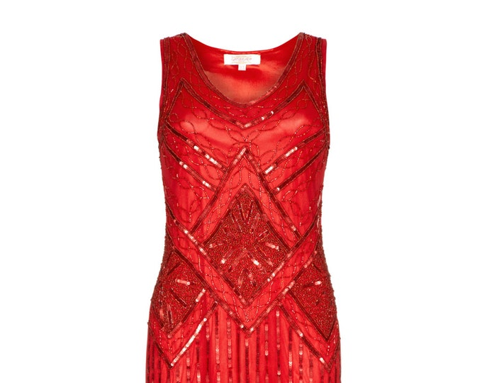 Tall Length Isobel Red 20s inspired Flapper Great Gatsby Art Deco Charleston Downton Abbey Bridesmaid Speakeasy Wedding Guest Beaded Dress