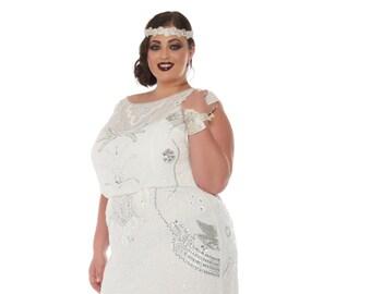 US26 UK30 AUS30 EU58 Isla Off White Plus Size Wedding Gown Dress Vintage 20s inspired Flapper Great Gatsby Art Deco Reception Beach wedding